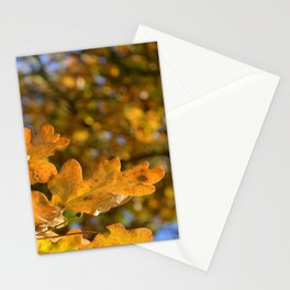 Yellow Oak Leaves Stationery Cards