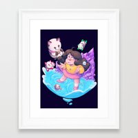 bee and puppycat Framed Art Prints featuring Bee and Puppycat- Dream by merrigel
