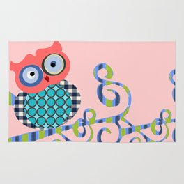 Nursery Baby Infant Kids Home Decor Modern Graphic Design Furniture Colorful Bird Owl on a Branch Rug