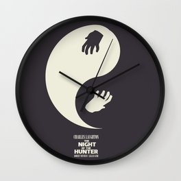 The night of the hunter, minimal movie poster (Robert Mitchum, Charles Laughton) classic Hollywood Wall Clock