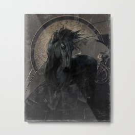 Gothic Friesian Horse Metal Print