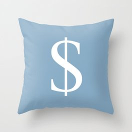 dollar sign on placid blue color background Throw Pillow