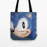 video games Tote Bags featuring Triangles Video Games Heroes - Sonic by s2lart
