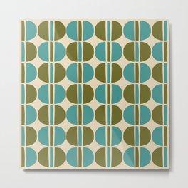 Mid Century Modern Geometric Pattern 141 Beige Green and Turquoise Metal Print