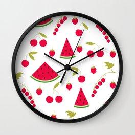Pattern watermelon cherry raspberry currant Wall Clock