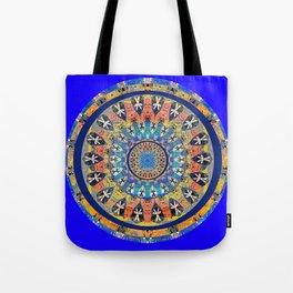 African Vintage Fabric Spirit World Mandala Tote Bag