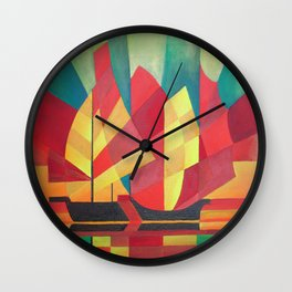 Cubist Abstract of Junk Sails and Ocean Skies Wall Clock