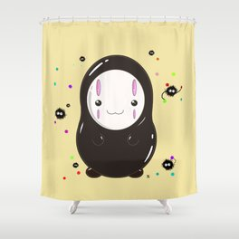 Spirited Away No Face Kawaii With Soot Sprites Shower Curtain