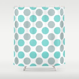 Turquoise, gray and white striped texture polka dots pattern Shower Curtain