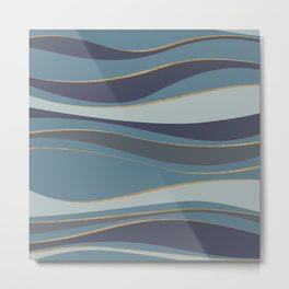 Blueprint Wavy Pattern 6 Metal Print