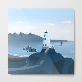 Lighthouse 3 - minimal artwork in blue colours Metal Print