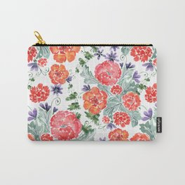 Floral pattern. Red, purple flowers on white. Carry-All Pouch