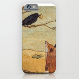 Fox and Crow, Aesop's Fable Illustration in the style of Arthur Rackham and Howard Pyle iPhone Case