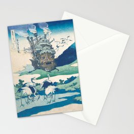 Howl's castle and japanese woodblock mashup Stationery Cards