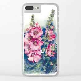 Watercolor Hollyhocks pink flowers Clear iPhone Case