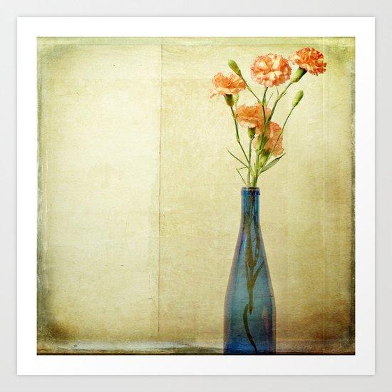 Bottled Carnations Art Print