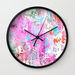 Pink Abstract with Coral Wall Clock