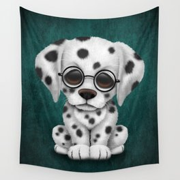 Dalmatian Puppy Wearing Reading Glasses on Blue Wall Tapestry