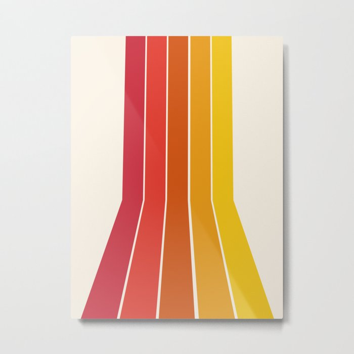 Rad - retro throwback 70s 1970s stripe beach 70's vibes minimal art Metal Print