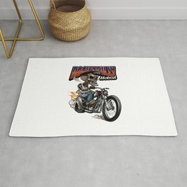 Vintage Rockabilly Skulls Riding Classic Chopper Bike Rug