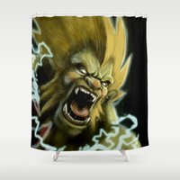 street fighter Shower Curtains featuring Blanka, Brazilian Street Fighter- Desafío52 by Marcos Raya Delgado