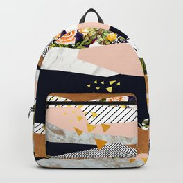 Collage of textured shapes and flowers Backpack