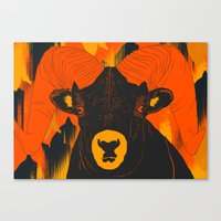 ram Canvas Prints featuring Ram by  Matt Glasby