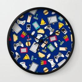 Gamer Blue Gaming Fast Food Kids Retro Pattern Wall Clock