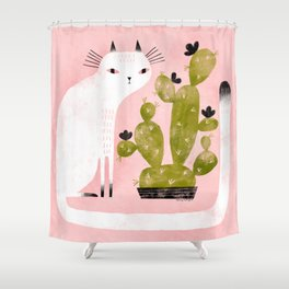 CAT & CACTUS Shower Curtain