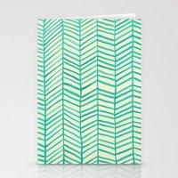 herringbone Stationery Cards featuring Mint Herringbone by Cat Coquillette
