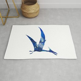 Blue Pteranodon Watercolor Painting Rug
