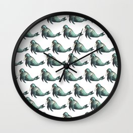 sea lion pattern Wall Clock