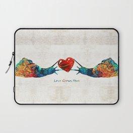 Snail Art - Love Grows Here - By Sharon Cummings Laptop Sleeve