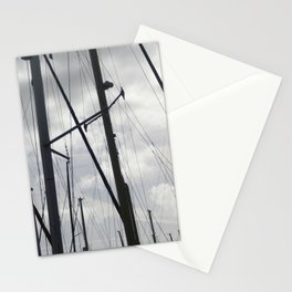 Yacht masts on cloudy sky Stationery Cards
