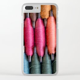 Spools of warm tone sewing threads Clear iPhone Case