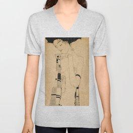 """Egon Schiele """"Standing Girl"""" Unisex V-Neck"""