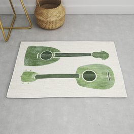 Hawaiian Ukuleles - Emerald Green Rug