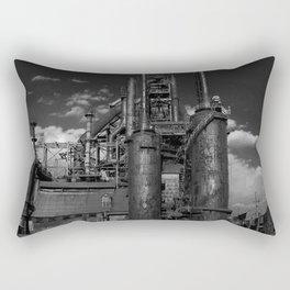 Black and White Bethlehem Steel Blast Furnaces Rectangular Pillow