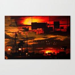 BINARY SUNDOWN - RED Canvas Print