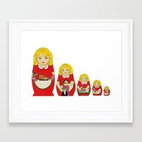 50s Framed Art Prints featuring 50s Housewife Russian Doll by Yana Elkassova