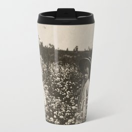 Vintage Photo of Sisters and Flowers Travel Mug