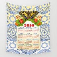 calendar Wall Tapestries featuring 2016 Decorative Calendar by Patricia Shea Designs