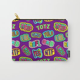 Colorful design with word patches. Carry-All Pouch