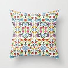 flower folk art Throw Pillow