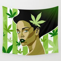 rihanna Wall Tapestries featuring Rihanna Weed Theme by Keidi Cole
