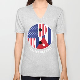 USA Cuba Ying Yang Heritage for Proud Cuban American, Biracial American Roots, Culture, Descendents Unisex V-Neck