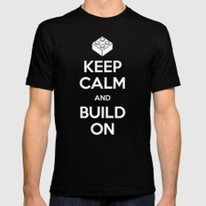 Keep Calm and Build On Black SMALL Mens Fitted Tee
