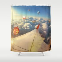 baloon Shower Curtains featuring Clouds ,sky and Balloons as seen through window of an aircraft by natalia.maroz