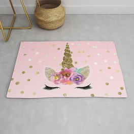 Floral Trendy Modern Unicorn Horn Gold Confetti Rug