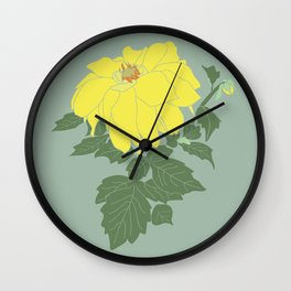 Yellow Dahlia Flower Illustrated Print Wall Clock